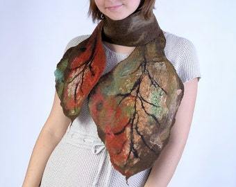 Brown autumn scarf with falling leaves - nuno felted leaf scarf in fall colors - floral, woodland nuno felt scarf [S159]