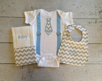 Personalized Baby Boy Onesie, Bib, and Burp Cloth Set