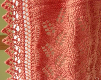 Hand Made Pale Orange Lace Scarf  Knit in 100% Extrafine Merino Wool