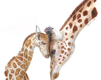 Giraffe Wall Art, Baby Giraffe Art, Baby Animal Nursery Art, Baby and Mommy Giraffe, Large Art Print, Wildlife Art, Watercolor 13x19