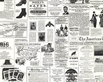 Vintage Newsprint Replica Wallpaper - Black and White, Newspaper Ads, Hip, Modern Wall Decor, Nostalgia - By The Yard - KW7620 so