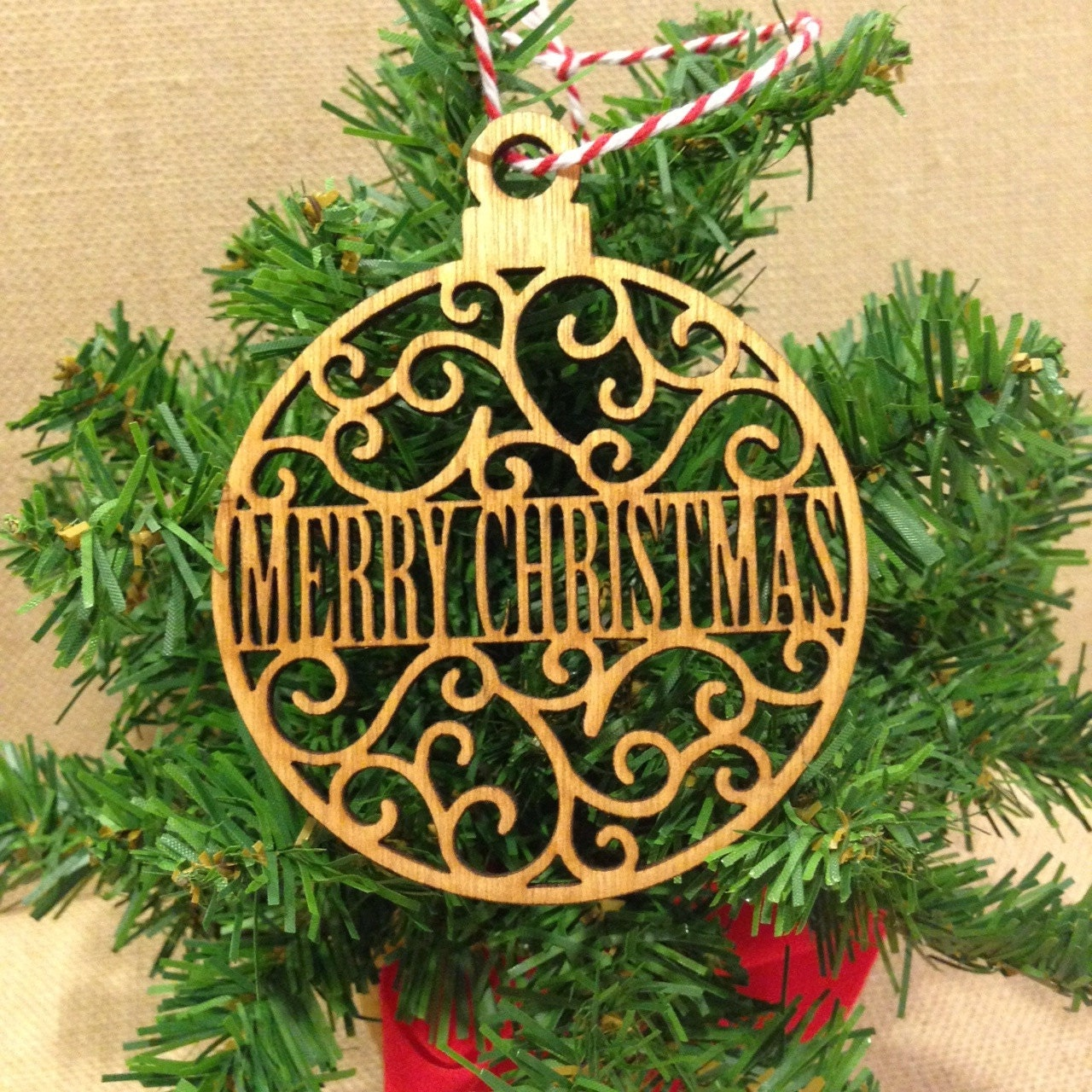 Merry Christmas Ornaments: Merry Christmas Wood Ornament Laser Cut Flourished Design