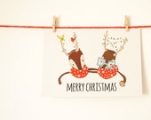 Merry Christmas Postcard with Original Illustration and Squirrels - Christmas Card with White Envelope Included - Nuts for Paper