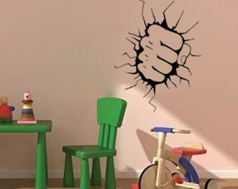 "Hand Smashing Through the Wall- Wall Decal  (16""w X 22""h)"