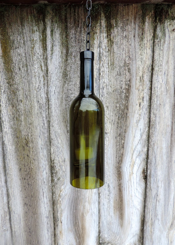 Hanging wine bottle candle holder green for Champagne bottle candle holders