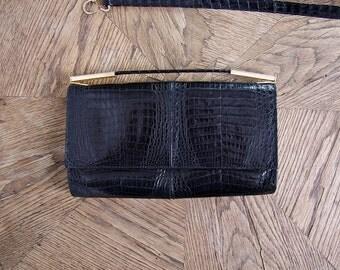 70s Goldpfeil Studio Germany Black Lizard Handbag Shoulder Bag Clutch