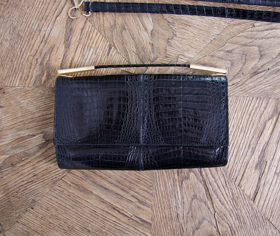 70s Goldpfeil Studio Germany Black Lizard Handbag Shoulder Bag Clutch