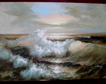 Claude Terray Original Signed Seascape  - Large Oil Painting on Canvas