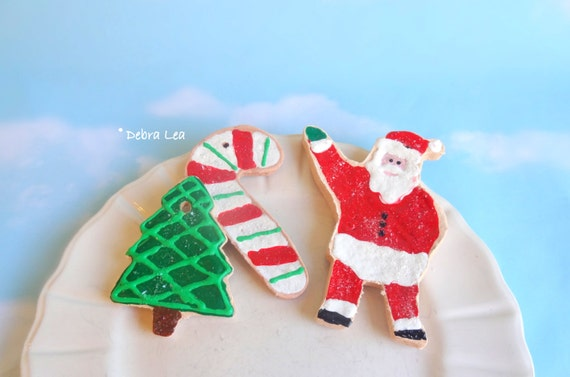 SALE Fake Cookies Set of 3 Handmade Faux Christmas Holiday Gingerbread Sugar Cookie Ornament Candy Cane Peppermint Tree Santa C11
