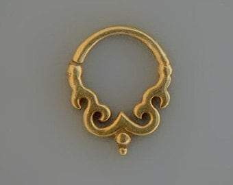 Septum Ring For Pierced Nose Tribal Septum Gold Nose Ring 24 kt Gold Septum Jewelry By Sagia