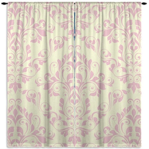 Items Similar To Elegant Pink Window Curtains Victorian Window Treatments Tan Damask Curtains