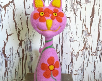 Pink Needle Felted Peace Cat
