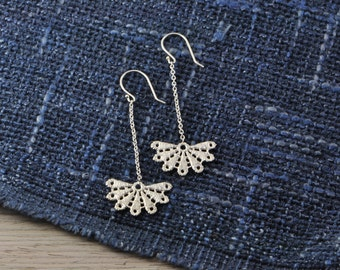 Bloom lace sterling silver earrings