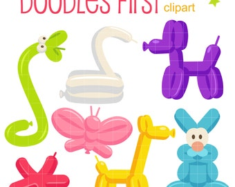 Balloon Animals Digital Clip Art for Scrapbooking Card Making Cupcake Toppers Paper Crafts