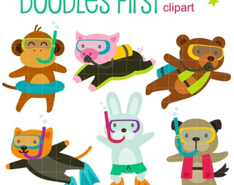 Scuba Animals Digital Clip Art for Scrapbooking Card Making Cupcake Toppers Paper Crafts