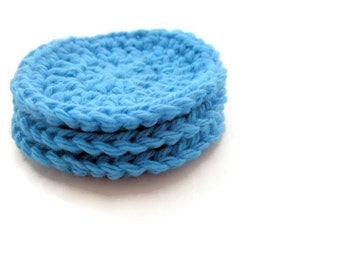 Reusable Cotton Rounds, Reusable Cotton Pads, Crochet Face Scrubbie, Face Scrubbies, Light Blue