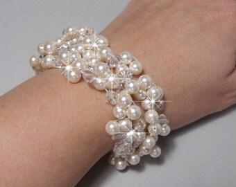 Pearl Cuff, Pearl Bridal Cuff Bracelet, Chunky Bracelet, Pearl & Crystal Cuff, Clustered Cuff Bracelet, Pearl Woven Cuff, Swarovski KATRINA