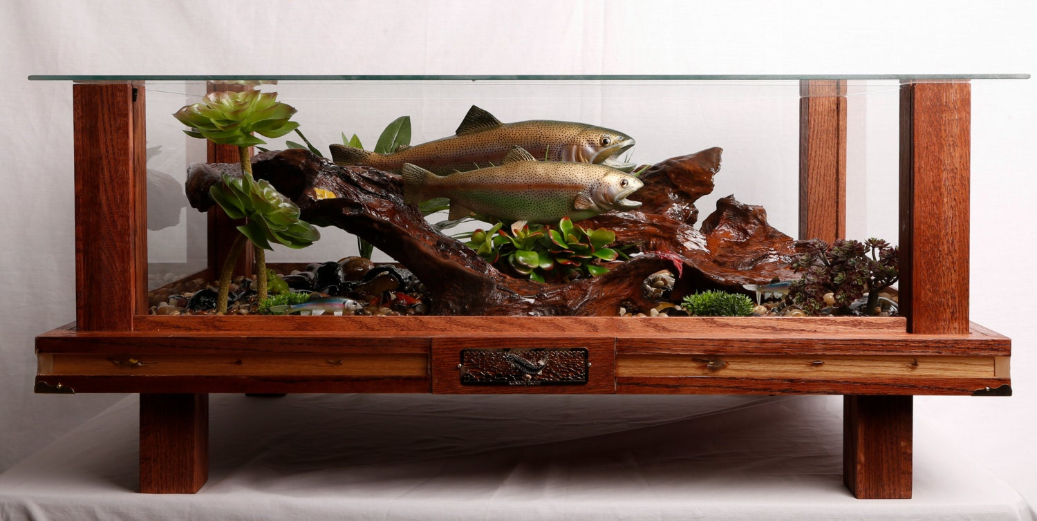 Rainbow Trout Fish Natural Habitat Red Oak Coffee Table