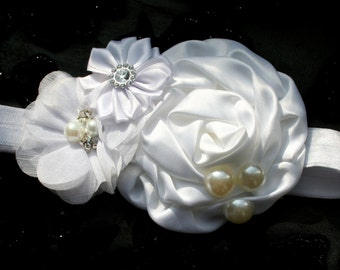 Baby Toddler White Headband Hair clip Chiffon Satin Flowers Pearls Crystals Soft Elastic. Baptism. Wedding. Christening Holiday Photo shoot