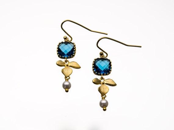 Blue Sapphire Earrings with Leaf & Pearl Drop Earrings
