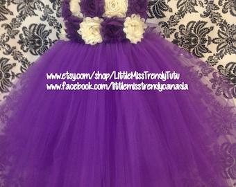 One Shoulder Purple Flower Girl Tutu Dress with Purple Ivory Flowers, Purple Tutu Dress, Flower Girl Dress,  Party Dress, Purple Tulle Dress