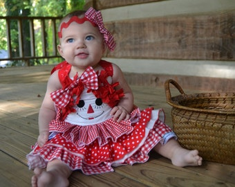 Raggedy Ann - Little Girl Dress – Little Girl Clothing – Toddler Dress - Girls Dress – Birthday Dress – Peasant - Spring –