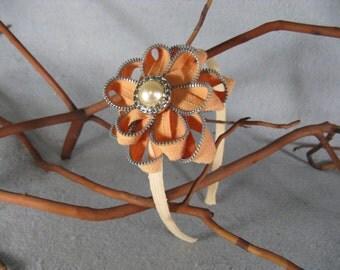 Orange Flower Headband - Zipper Flower - Zipper Headband - Upcycled - Recycled - Repurposed - Girls Headband -Womens Headband -Baby Headband
