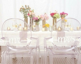 Mr & Mrs - wedding chair signs - arrows