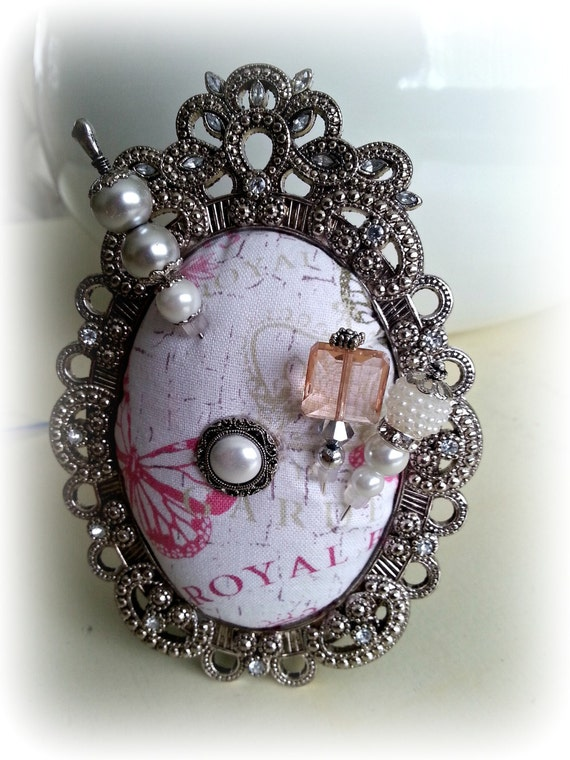 Ornate Silver Pin Cushion Oval Frame: Ready to Ship. Handmade for Hijab pins, stick pins, hat pins. Jewellery Holder