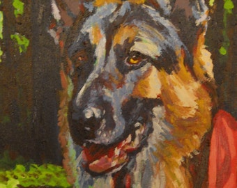 Custom dog portrait (12x16) from your photo - SAMPLE