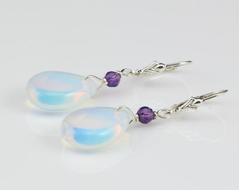 Drop Earrings, Opalite Pear Briolette Earrings with Sterling Silver Leverback Ear Wires