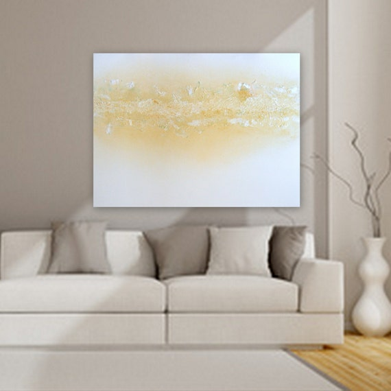 xl huge Ellegant Modern, Textured Large minimal abstract painting /metalic gold, white, yellow hint of green/turquoise