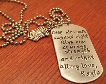 Hand stamped dog tag necklace police/military necklace for men or women. Keep him safe day and night-Policeman necklace-Policeman gift