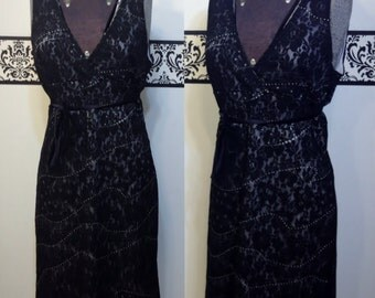 1980's Black Lace Pin Up Dress by Bebe, Medium, Vintage 80's does 50's Black Lace Overlay Cocktail Dress, Pin Up, Little Black Dress, LBD