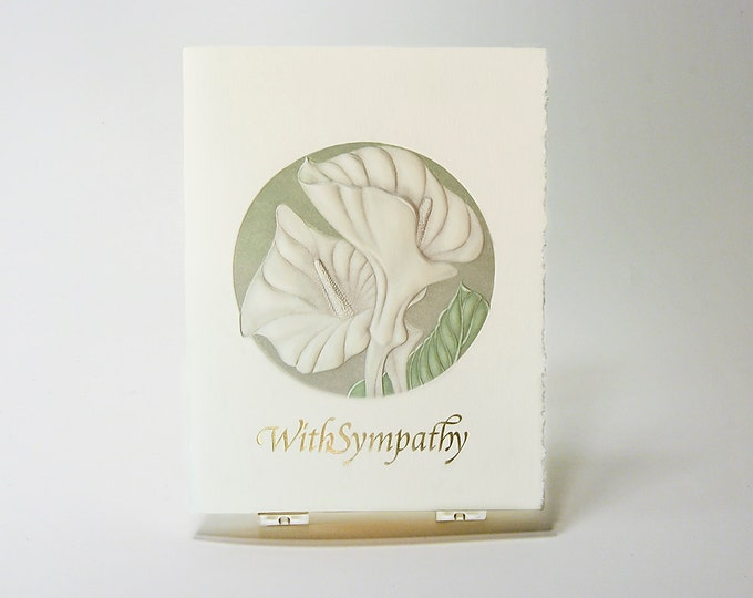 Sympathy Letterpress Card. Calla Lily Embossed Flower. With Sympathy Gold Foil. Single card. Blank inside.