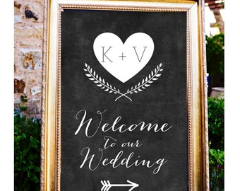 Directional Chalkboard Welcome to our Wedding Sign, Wedding Arrow Sign, Welcome to our Ceremony Sign, Printable Wedding Poster