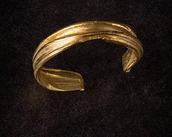Golden PRIESTESS Cuff, Ancient Greek cuff, Art Nouveau cuff, Celtic cuff