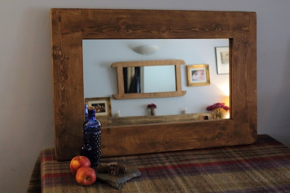 Handmade large wood frame wall mirror in chunky by for Handmade wall frames ideas