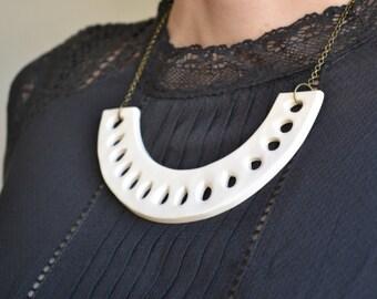 White statement necklace, ceramic jewellery, unique contemporary jewellery for women