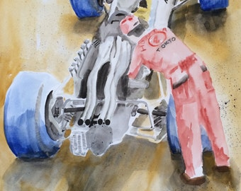 Watercolor Painting of 1966 Honda F1 Italian Grand Prix Monza