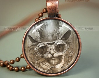 Steam punk CAT NECKLACE, Steampunk Cat pendant // Halloween necklace resin pendant // black cat jewelry // Black Cat  // Cat Lover