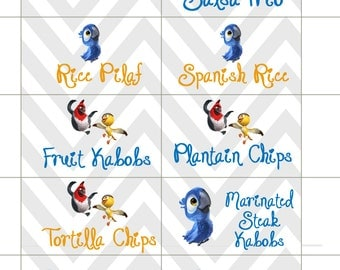 Rio birthday party food snack labels
