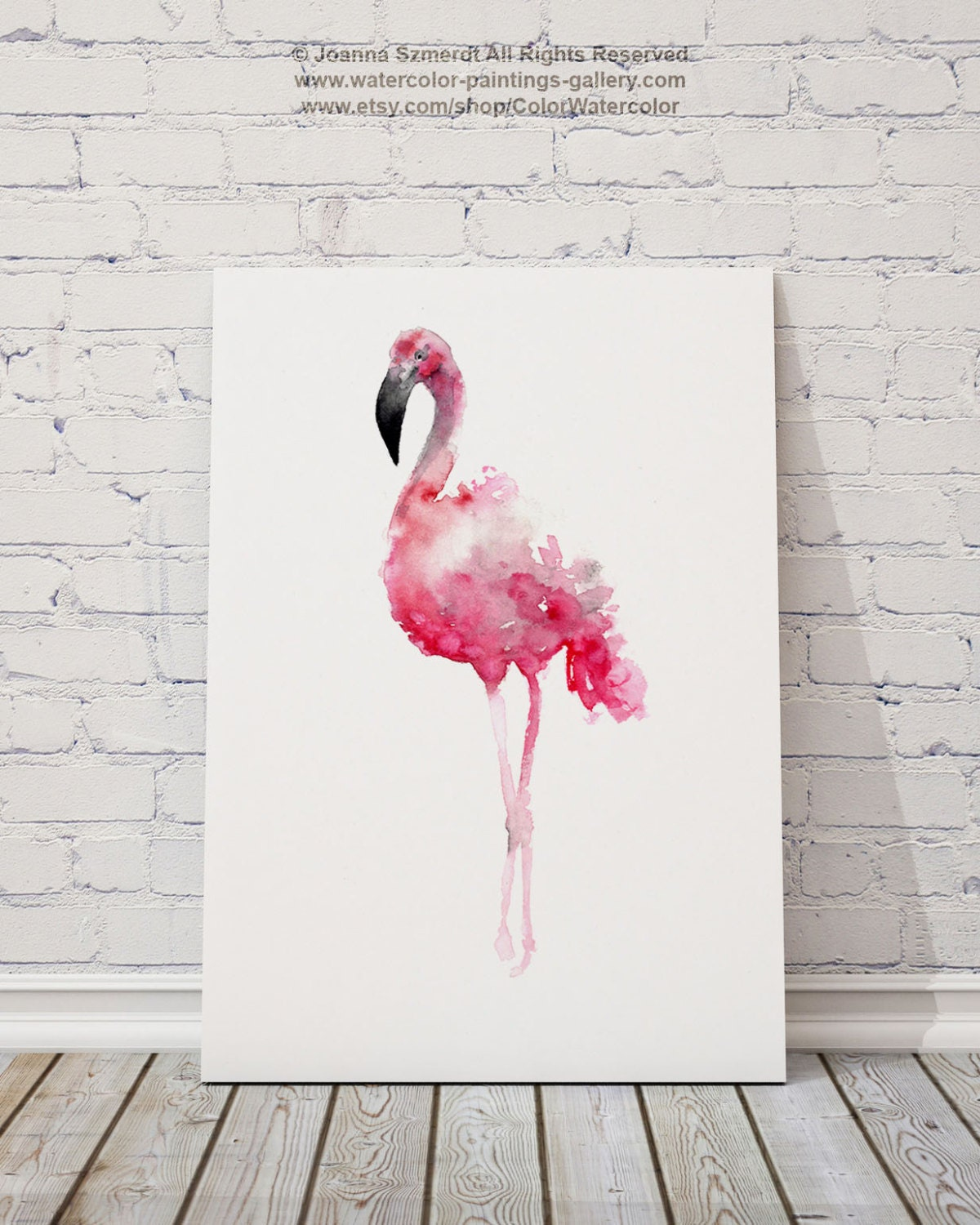Flamingo art print pink wall decor bird watercolor painting for Pink wall art