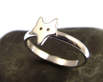 Sterling Silver Fox Ring - Stacking Ring - Fox Jewellery - Fox Gifts