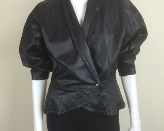 cropped black leather jacket w/ peplum 80s