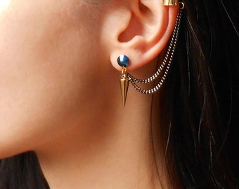 Spike ear cuff earrings, gold spike earrings, rock style, chain ear cuff earrings