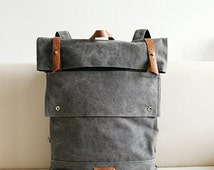 Vogue Grey Leather Canvas Backpack, BACKPACK,with handles,Messenger bag,Travel Bag,School bag