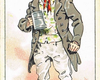 Vintage Cigarette Card - Blank Greeting Card - Bill Sikes from Oliver Twist