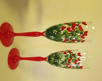 Blooming with hearts !  Painted wine glasses Champagne flutes Wedding glasses Valentines Day