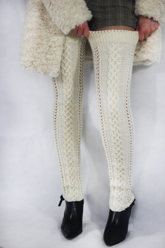 Knit Leg Warmers Cable Pattern : Long leg warmers. Knitted extra long leg warmers in